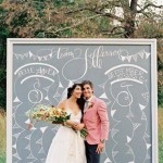 Talk about personalizing your event! Wow! Make an unforgettable piece of chalk art that will double as a super cool DIY photo booth backdrop. Love this! -mp :)