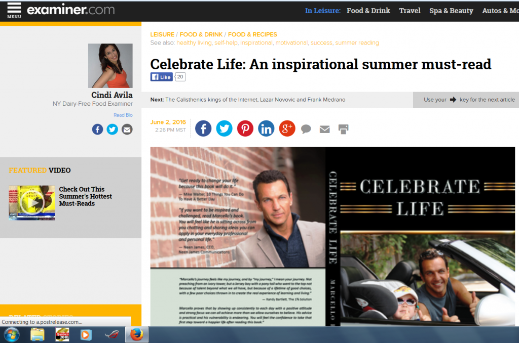 Examiner.com, Marcello Pedalino, Celebrate Life Book,